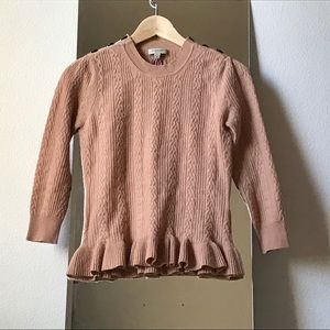 Burberry Pink Cashmere Cable Knit Sweater SZ 6